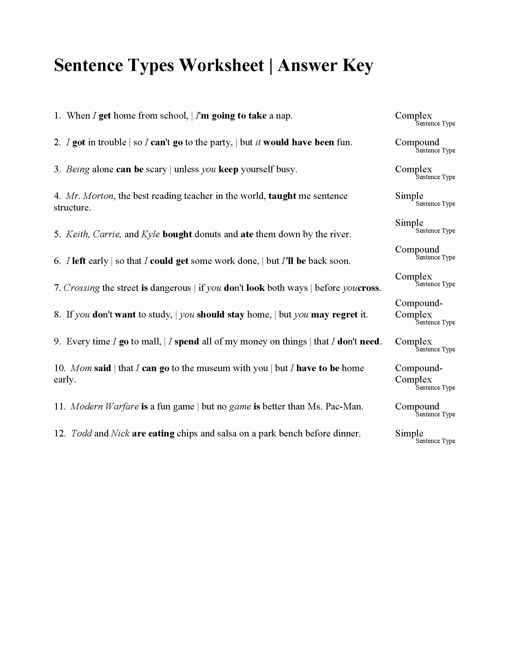 Types Of Sentences Worksheet Best Of Sentences Types Worksheet