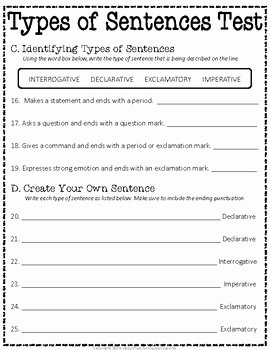 Types Of Sentences Worksheet Inspirational Types Of Sentences Test 2 Versions Included Types Of
