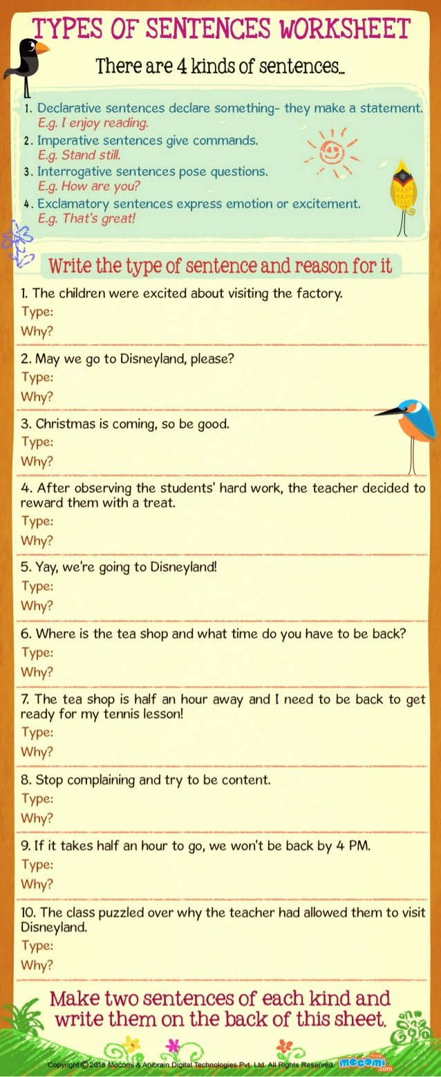 Types Of Sentences Worksheet New Types Of Sentences Worksheet for Kids Mo I