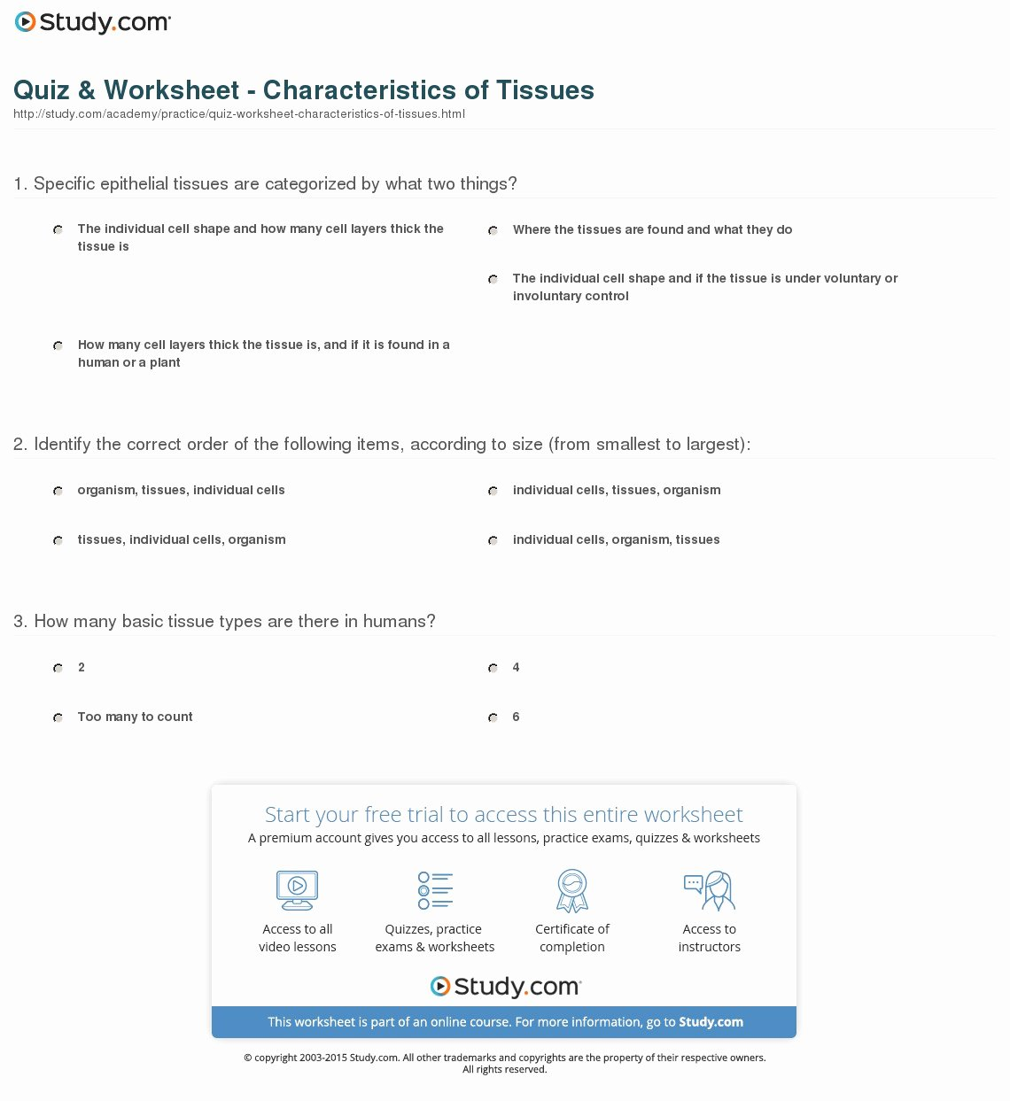 Types Of Tissues Worksheet Awesome Quiz & Worksheet Characteristics Of Tissues