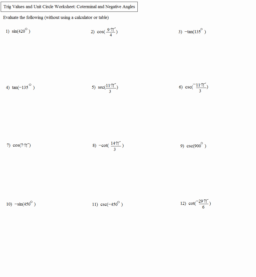 Unit Circle Practice Worksheet Inspirational Math Plane Unit Circle and Trigonometry Measures