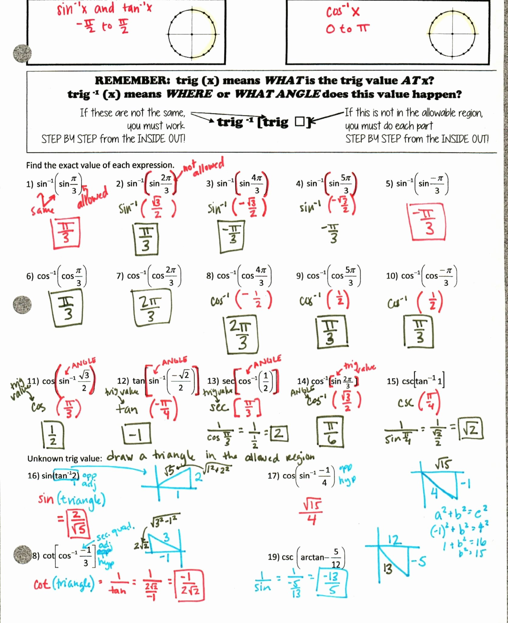 Unit Circle Worksheet with Answers Awesome Chemistry Unit 6 Worksheet 1 Answer Key