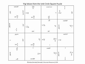 Unit Circle Worksheet with Answers Awesome Trig Values From the Unit Circle Square Puzzle