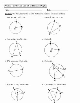 Unit Circle Worksheet with Answers Best Of Central and Inscribed Angles Worksheet Answers