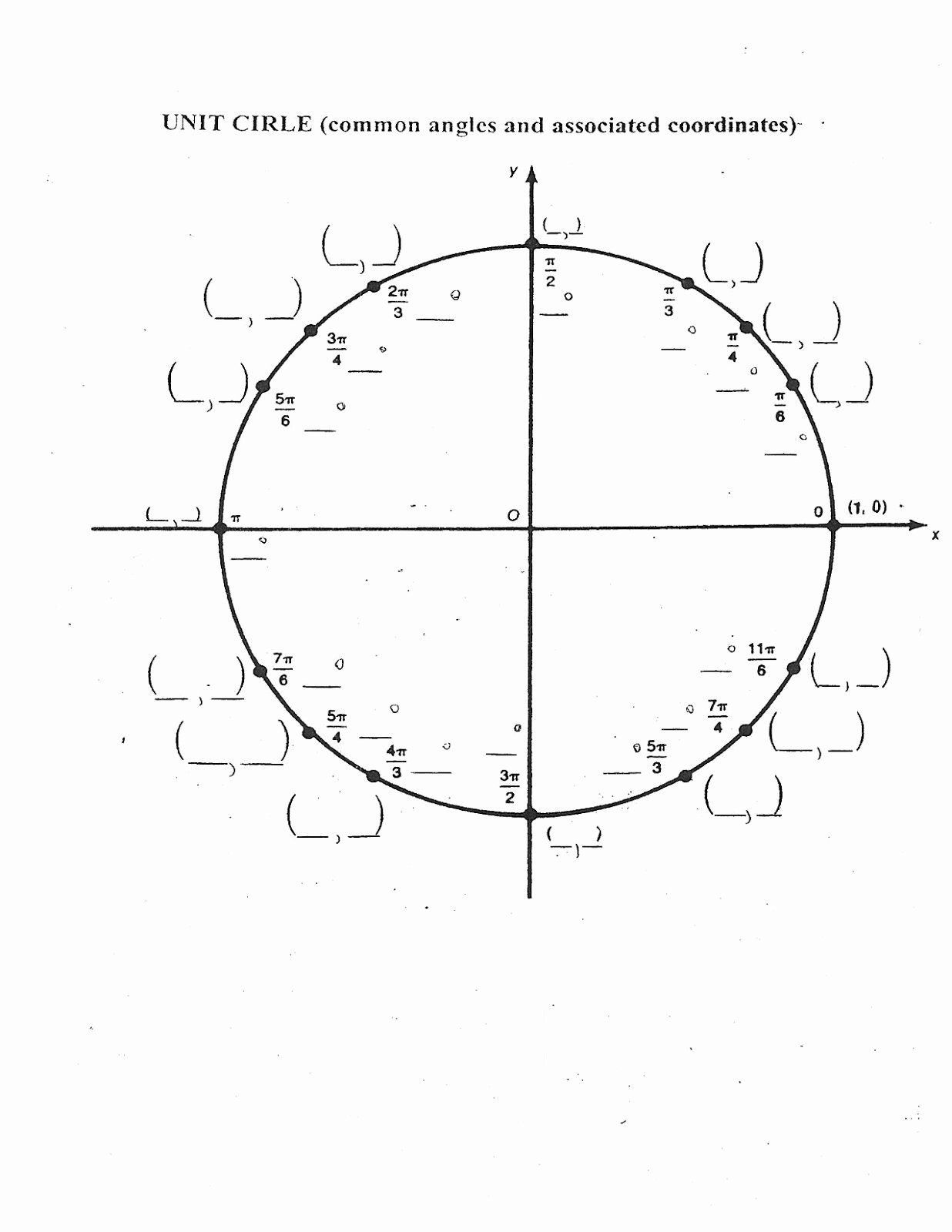 Unit Circle Worksheet with Answers Lovely Unit Circle Blank Quiz Calendar June