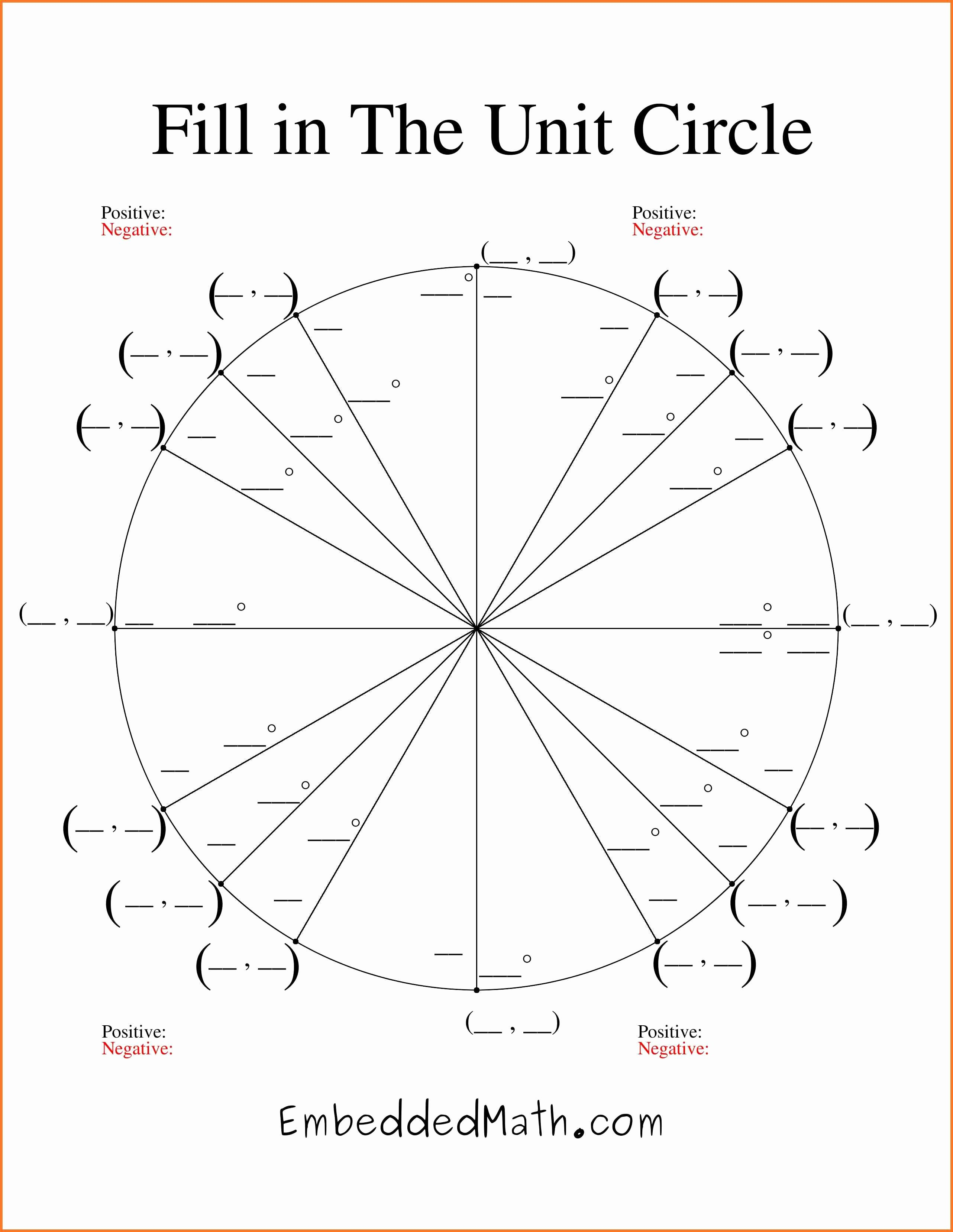 Unit Circle Worksheet with Answers Lovely Unit Circle Printable Printable Pages
