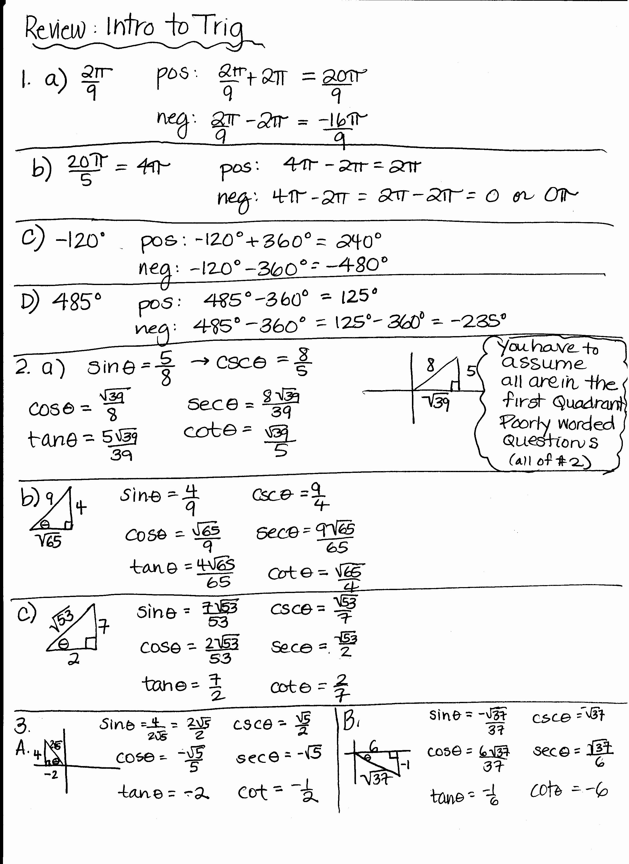Unit Circle Worksheet with Answers Unique Precalculus Unit Circle Worksheet