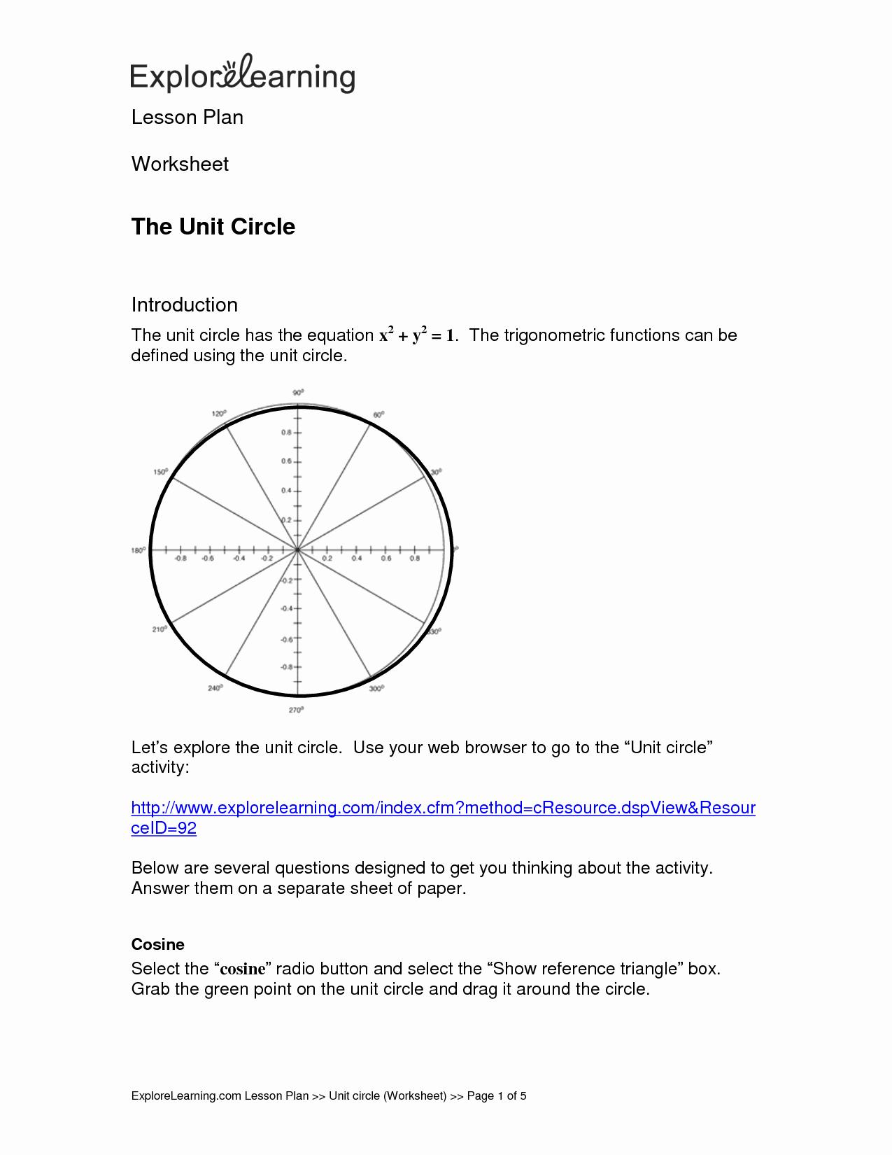 Unit Circle Worksheet with Answers Unique Unit Pi Worksheet