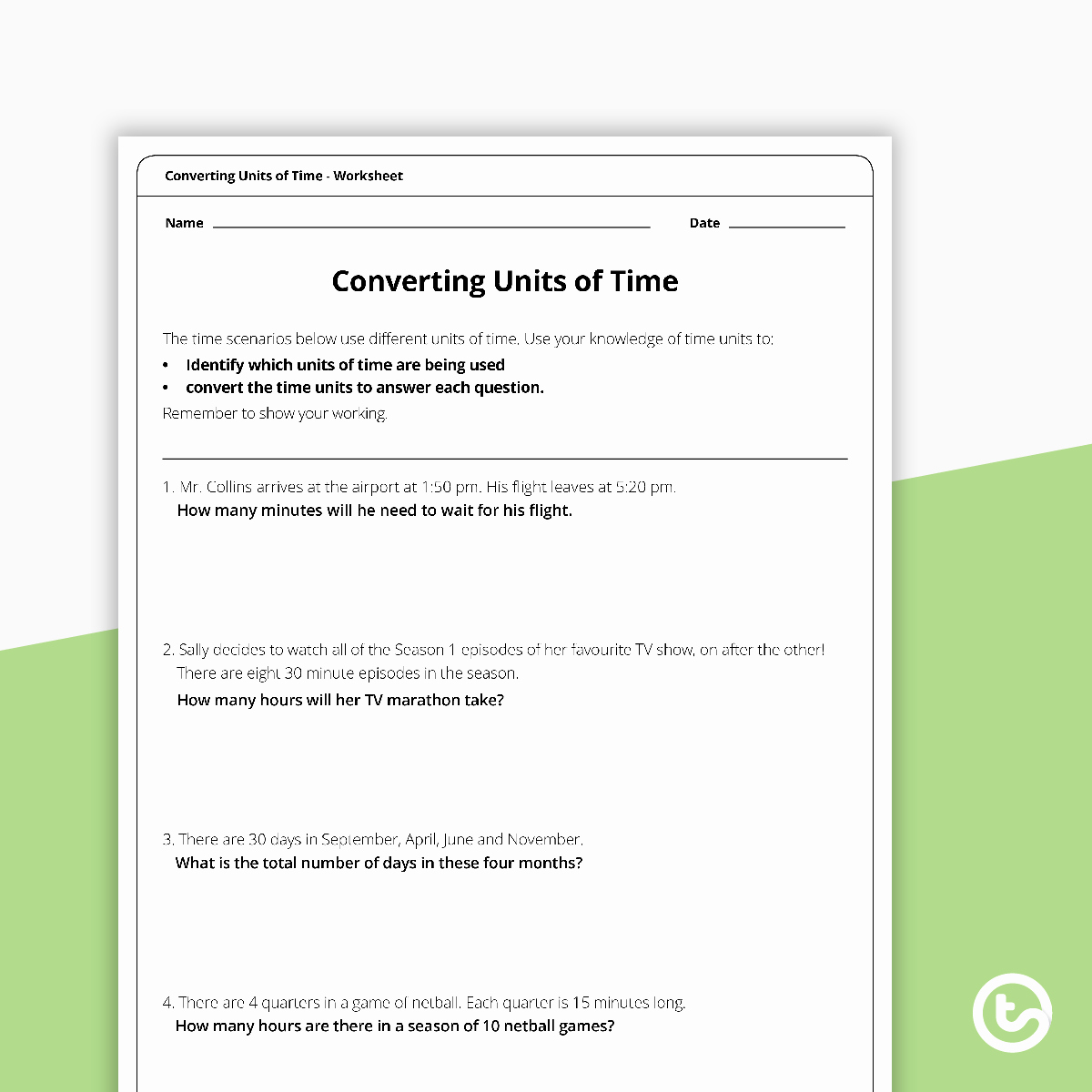 Unit Conversion Word Problems Worksheet Fresh Converting Time Word Problems Worksheet Teaching Resource
