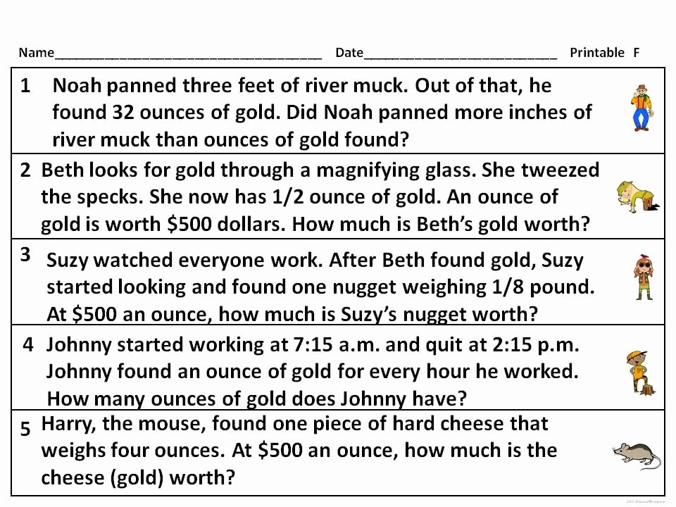 "Unit Conversion Word Problems Worksheet Inspirational Gold Rush ""word Problems"" Measurement Activities"