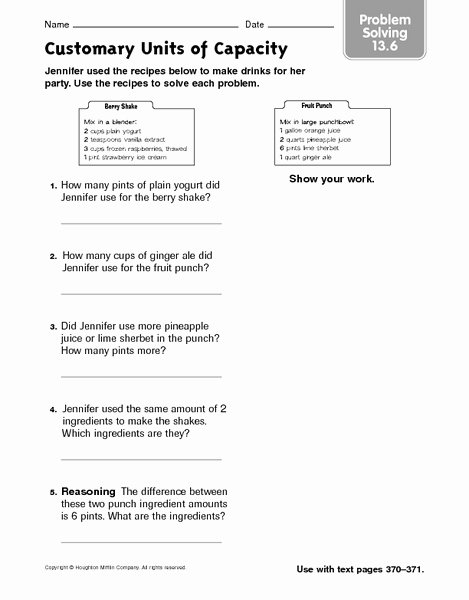 Unit Conversion Word Problems Worksheet New Customary Units Of Capacity Problem solving 13 6 Worksheet