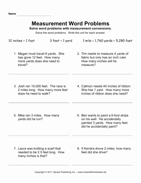 Unit Conversion Word Problems Worksheet New Measurement Word Problems