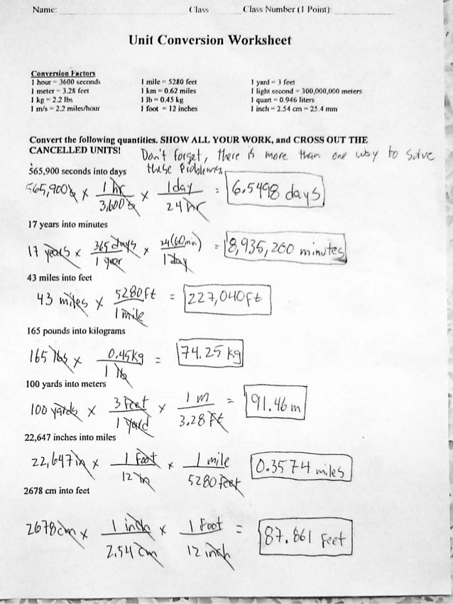 Unit Conversion Worksheet Answers Elegant Answers to Unit Conversions Side 1