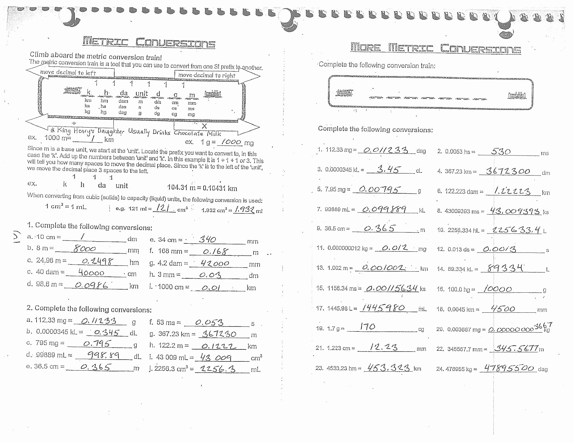 Unit Conversion Worksheet Chemistry Fresh Chemistry Metric Conversion Worksheet with Answers the