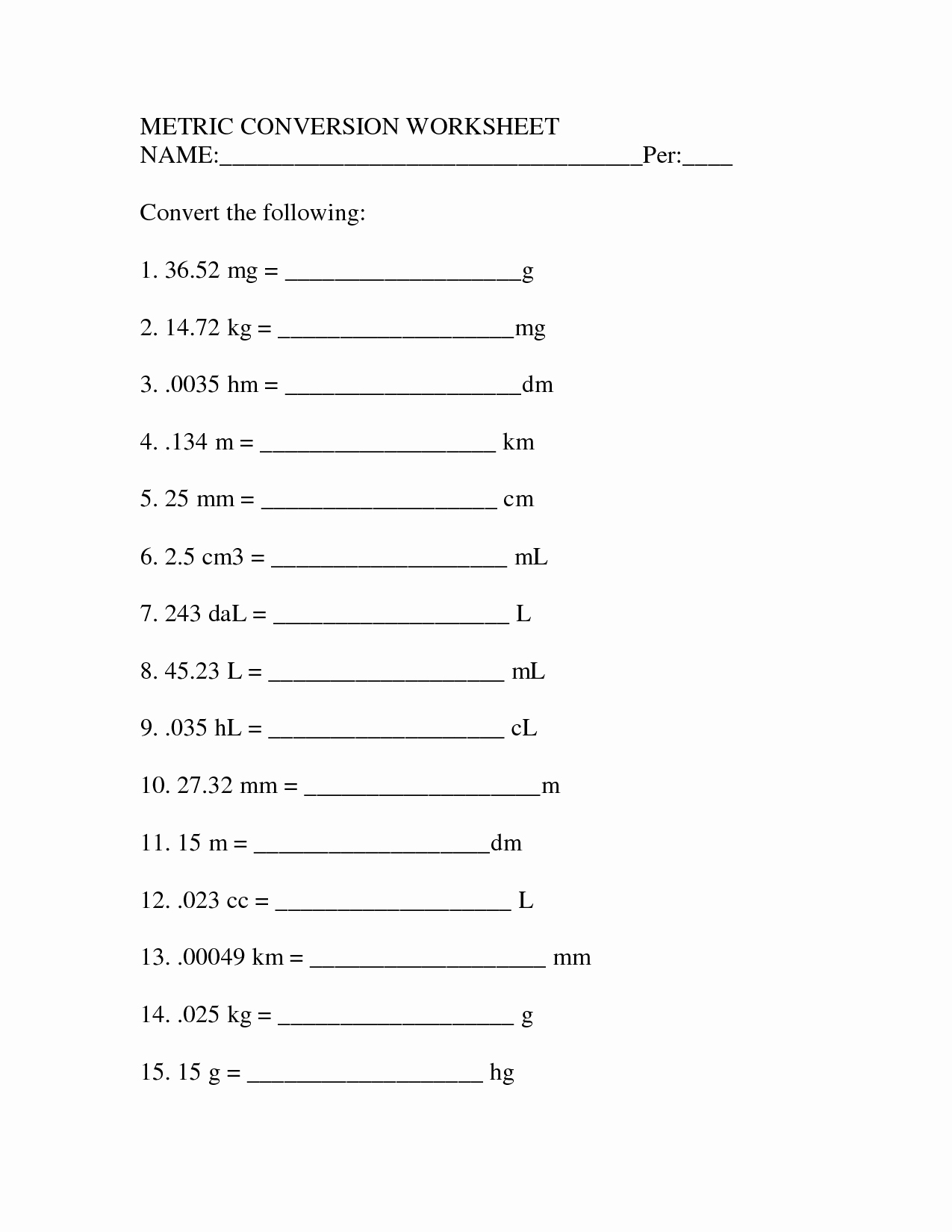 Unit Conversion Worksheet Chemistry Inspirational Metric Unit Conversion Worksheet