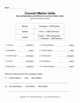 Unit Conversion Worksheet Pdf New Convert Metric Units