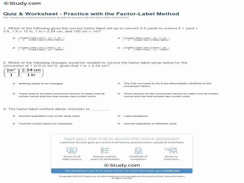 Unit Conversions Worksheet Answers Unique Unit Conversions and Factor Label Method Worksheet Answers