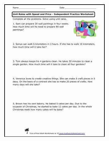 Unit Rate Word Problems Worksheet Best Of Ratio and Rates Word Problems Independent Practice Worksheet
