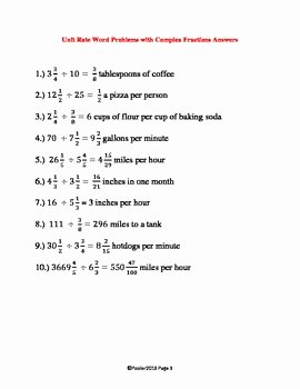 Unit Rate Word Problems Worksheet Elegant Unit Rate Word Problems W Plex Fractions Mon Core