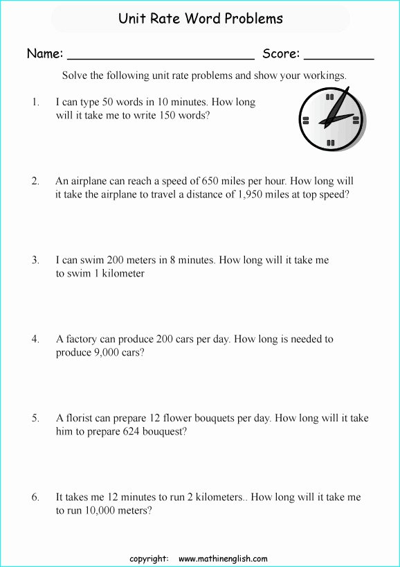 Unit Rate Word Problems Worksheet Inspirational Unit Rate Worksheets