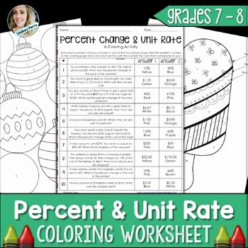 Unit Rate Word Problems Worksheet Lovely Percent and Unit Rate Coloring Worksheet by Lindsay Perro