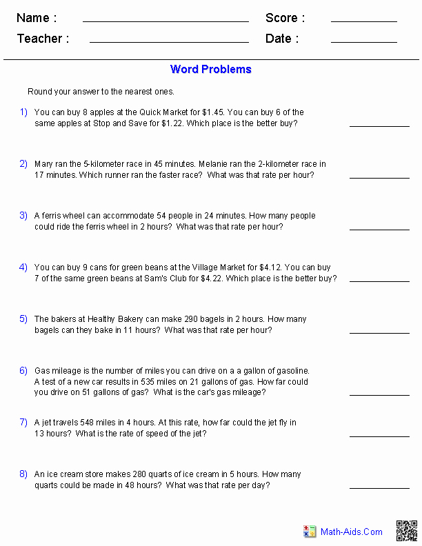 Unit Rate Word Problems Worksheet New 10 Best Of Proportion Problems Worksheet 6th
