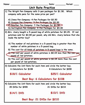 Unit Rate Word Problems Worksheet New Unit Rate Word Problem Application Practice Plus Spiral