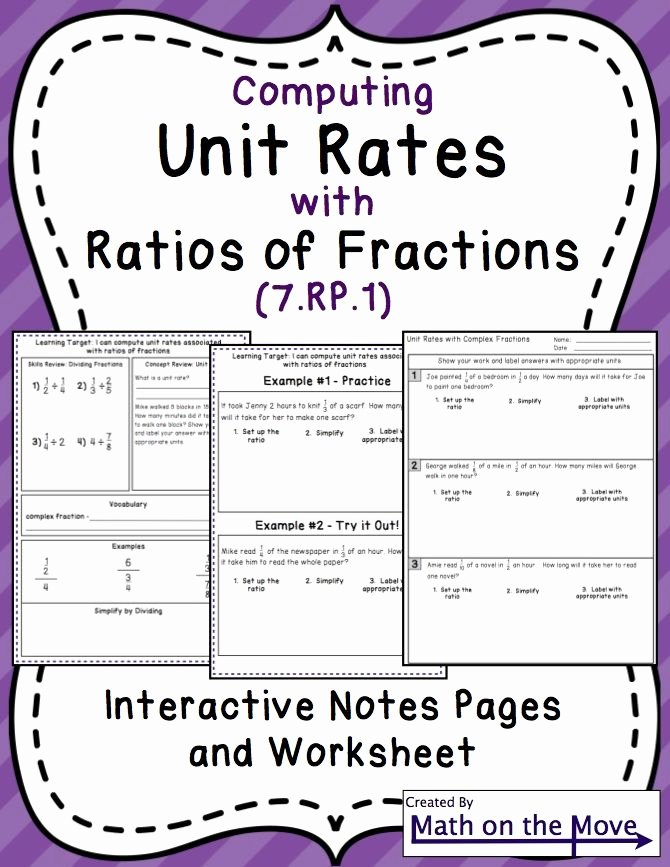 Unit Rate Worksheet 6th Grade Beautiful Unit Rates with Fractions Interactive Notes and Practice