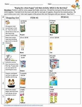 Unit Rate Worksheet 6th Grade Inspirational Unit Rates What S the Better Buy Paring Unit Rates