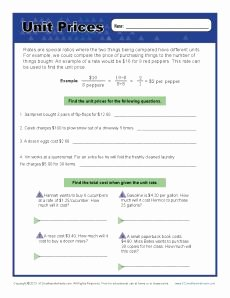 Unit Rate Worksheet 6th Grade Luxury Find the Unit Prices