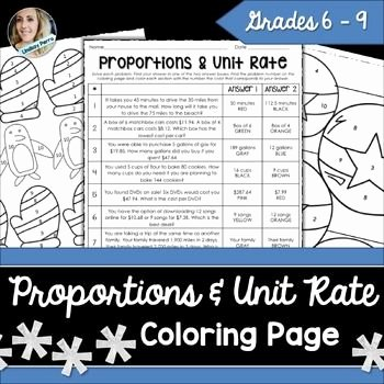 Unit Rate Worksheet 6th Grade New Proportions and Unit Rate Coloring Worksheet