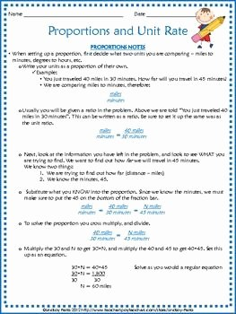 Unit Rate Worksheet 7th Grade Fresh Proportions and Unit Rates Notes and Practice