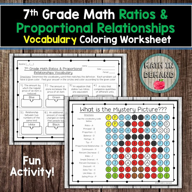 Unit Rate Worksheet 7th Grade Inspirational 7th Grade Math Vocabulary Coloring Worksheets