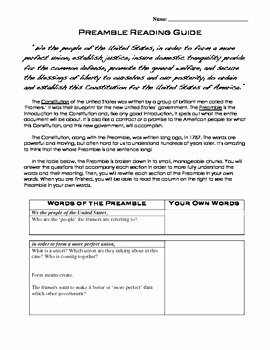 United States Constitution Worksheet Awesome U S Constitution Preamble Worksheet Dbq Students Write