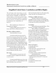 United States Constitution Worksheet Beautiful Simplified United States Constitution and Bill Of Rights