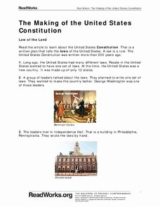 United States Constitution Worksheet Elegant the Making Of the United States Constitution 1st Grade