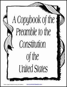 United States Constitution Worksheet Fresh Copybook Of the Preamble to the United States Constitution