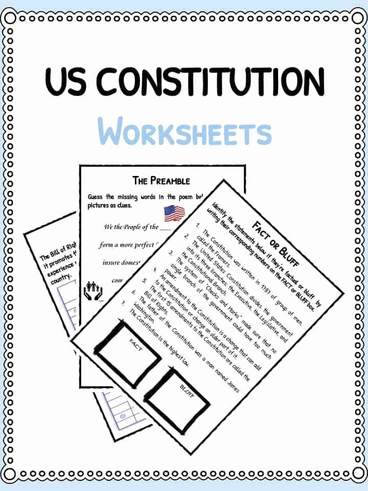 United States Constitution Worksheet Inspirational Us Constitution Facts & Worksheets