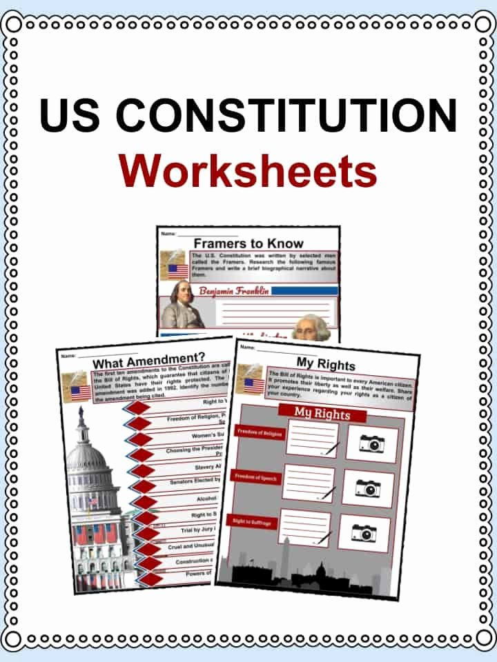 United States Constitution Worksheet New Us Constitution Facts & Worksheets