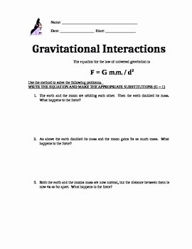 Universal Gravitation Worksheet Answers Awesome Physics Worksheet On Universal Gravitation by Fysics is
