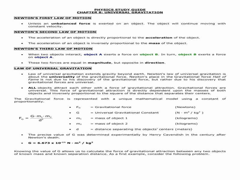 Universal Gravitation Worksheet Answers Beautiful Universal Gravitation Worksheet