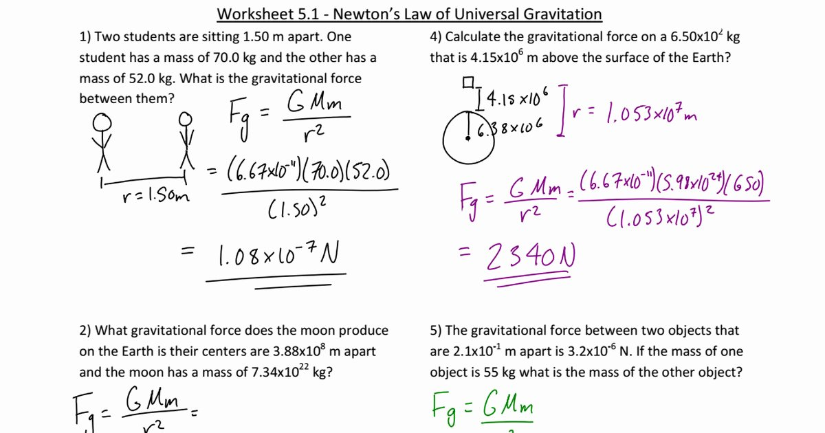 Universal Gravitation Worksheet Answers Fresh Universal Gravitation Worksheet Answers Breadandhearth