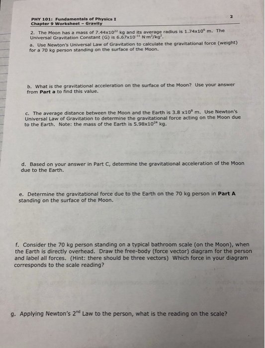 Universal Gravitation Worksheet Answers Inspirational solved Phy 101 Fundamentals Physics I Chapter 9 Works