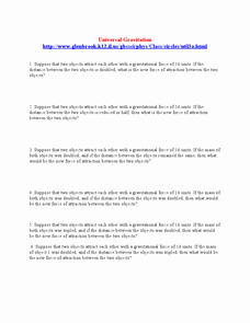 Universal Gravitation Worksheet Answers Lovely Universal Gravitation Worksheet 10th Higher Ed Lesson