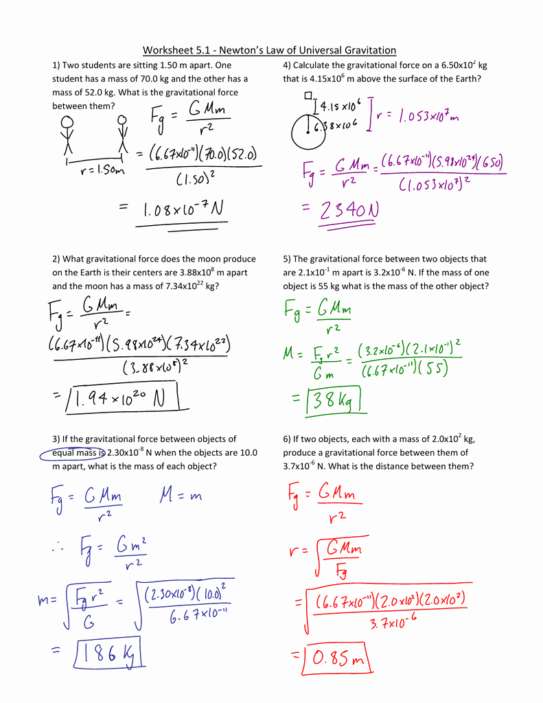 Universal Gravitation Worksheet Answers Lovely Worksheet Law Universal Gravitation Worksheet