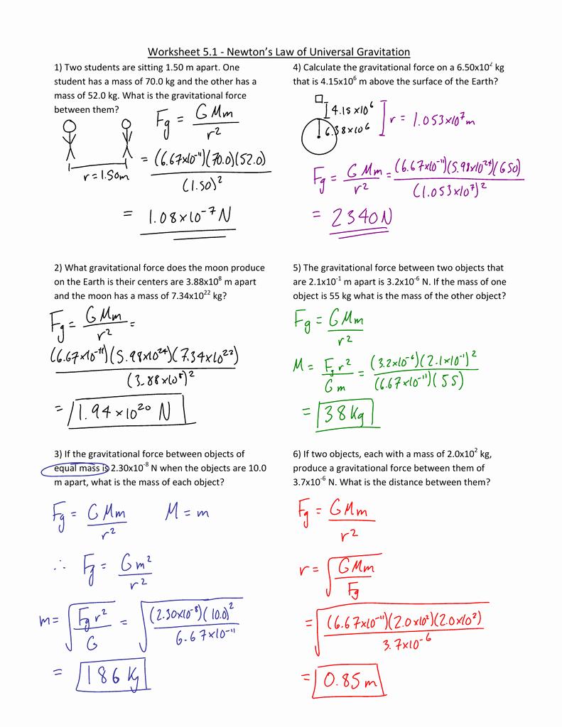 Universal Gravitation Worksheet Answers Lovely Worksheet Law Universal Gravitation Worksheet