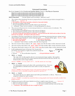 Universal Gravitation Worksheet Answers New Gravitational Fields Worksheet