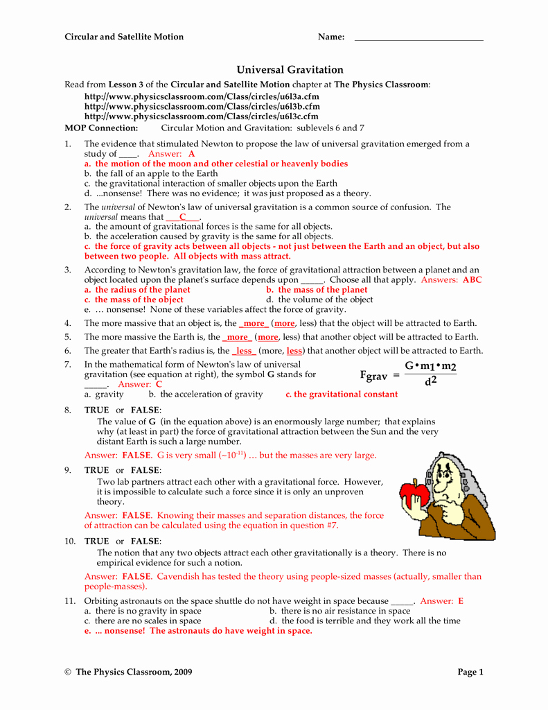 Universal Gravitation Worksheet Answers New Universal Gravitation Worksheet Answers Breadandhearth