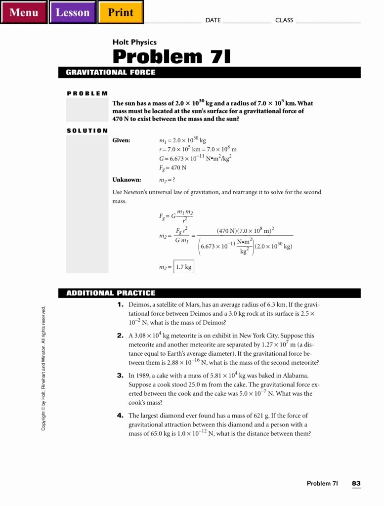 Universal Gravitation Worksheet Answers Unique Chapter 13 Universal Gravitation Worksheet Answers