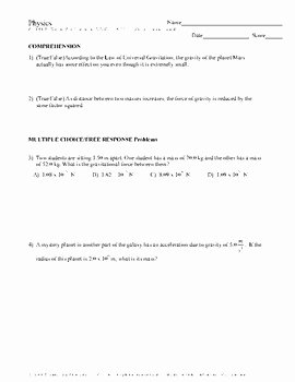 Universal Gravitation Worksheet Answers Unique Worksheet Universal Law Gravitation Answers